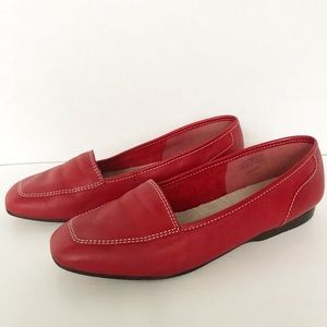 Enzo Angiolini Slip-On Red Leather Loafers